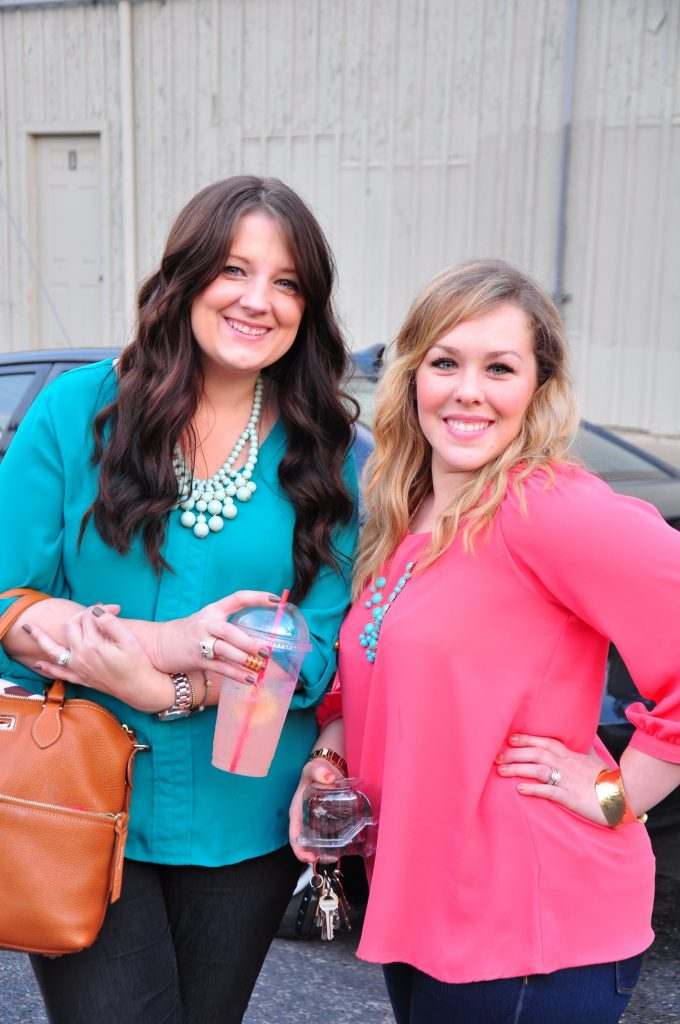 Jenn & Stephanie wearing teal and coral with statement necklaces!