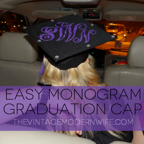 This blogger shows you how easy it is to make a Monogram Graduation Cap