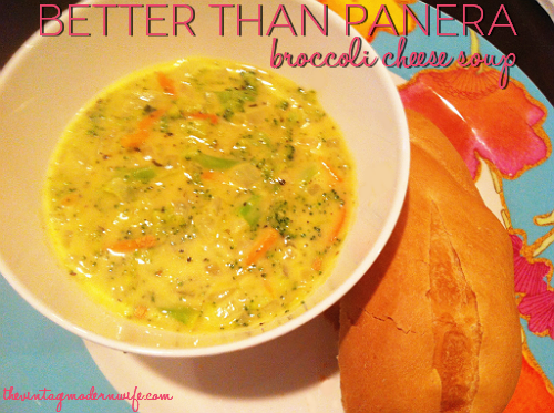 What is the recipe for Panera's broccoli soup?