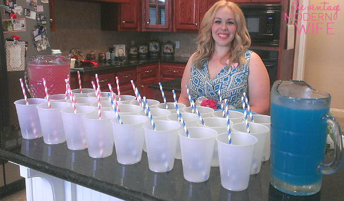 Love The Vintage Modern Wife's idea to make pink and blue punch for a gender reveal party! Saving this for the recipe on her blog!