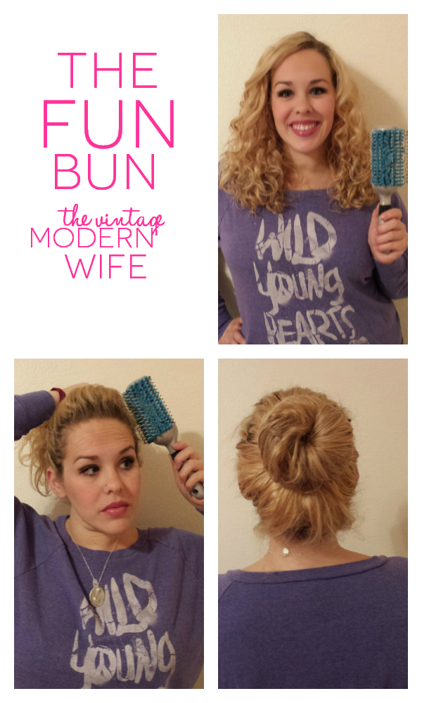 This fun bun takes less than 5 minutes for the mom on the go and all you need is this Goody Quikstyle brush, 2 hair ties, and a few bobby pins! This blogger makes it look easy!