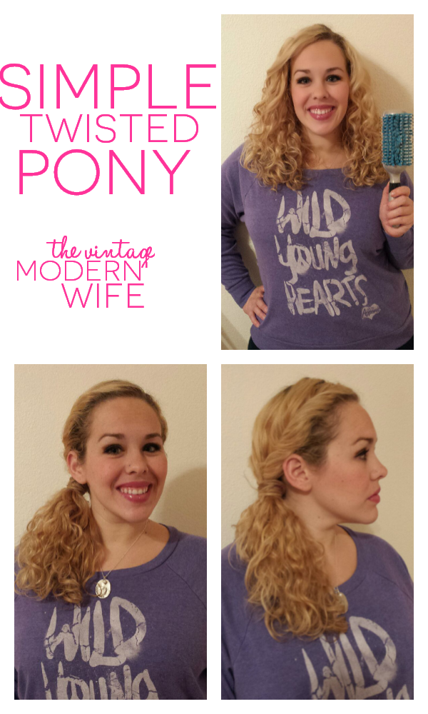 This simple twisted pony is fun and flirty with the Goody Quikstyle brush and a few bobby pins! It's a perfect quick 5 minute hairstyle for the mom on the go