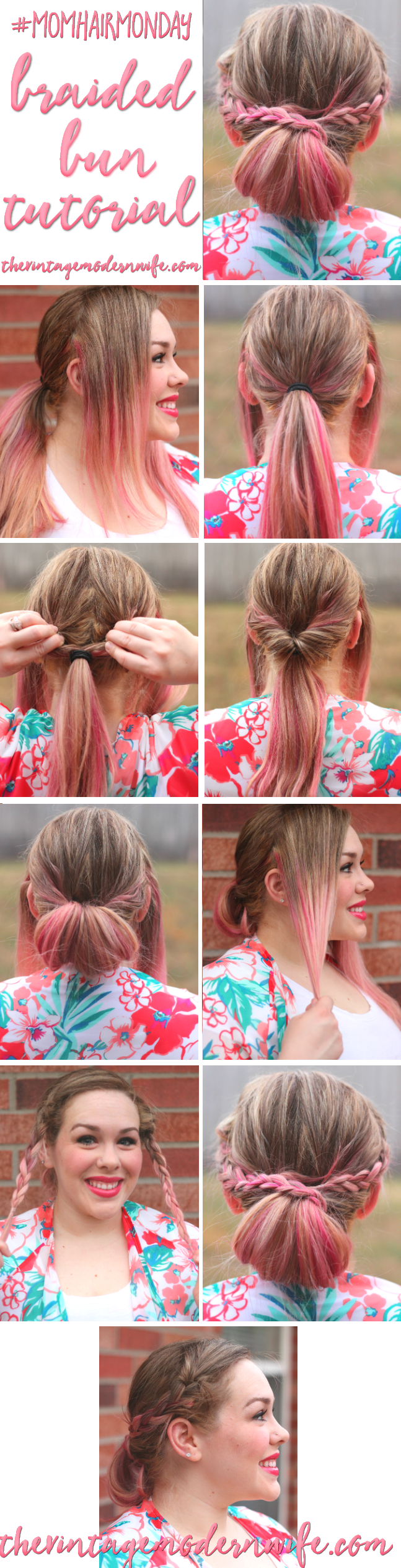 I absolutely LOVE this Braided Bun tutorial by The Vintage Modern Wife! She breaks it down into a few easy steps that helped me take my hair from drab to fab in 5 minutes! Check it out for #momhairmonday!