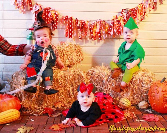 Love this adorable scarecrow costume, Peter Pan costume, and Minnie Mouse costume. These babies are too adorable!