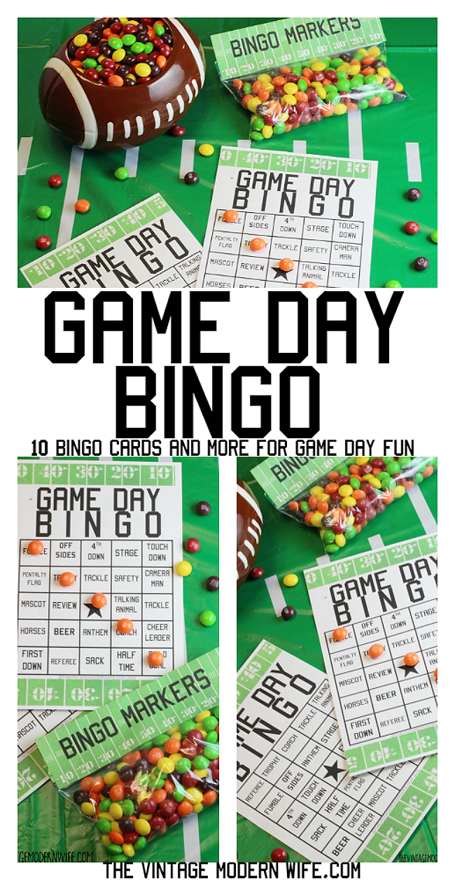 Looking for a fun game day activiity? We love Game Day Bingo! Download 10 cards and Bingo marker bag tops for fun during the whole football game! #buy2get2 #ad