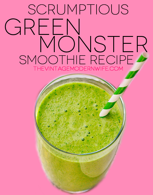 Totally making this green monster smoothie recipe! So easy and not many ingredients!