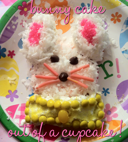 How to make a bunny cake out of a cupcake by The Vintage Modern Wife