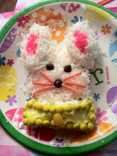 How to make a bunny cake out of a cupcake by The Vintage Modern Wife step 7