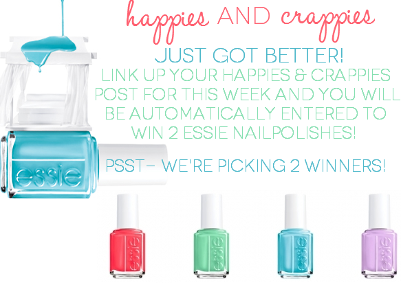 Happies & Crappies #20 Essie giveaway! Come link up to tell us the happies (good) and crappies (bad) from your week between Friday 5/31 til Monday 6/3 and be automatically entered to win!