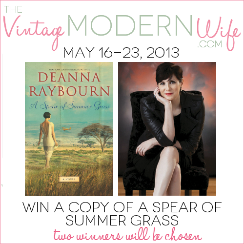 Enter to win one of two copies of Deanna Raybourn's newest Harlequin novel, A Spear of Summer Grass! It's inspired by The Great Gatsby and Out of Africa!