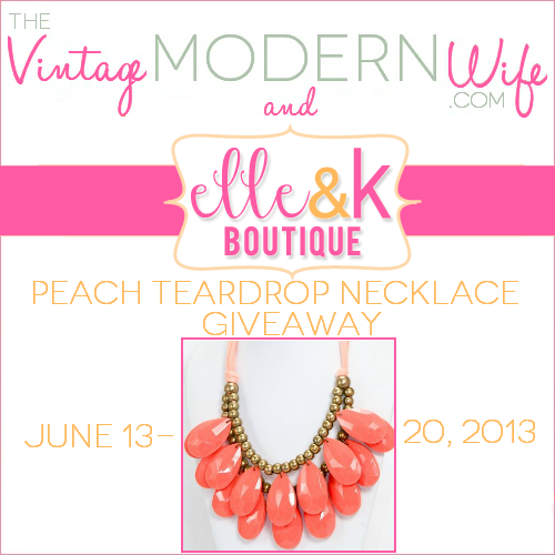 Enter this giveaway from The Vintage Modern Wife and Elle & K Boutique for your chance to win a Peach Teardrop Bib Necklace!