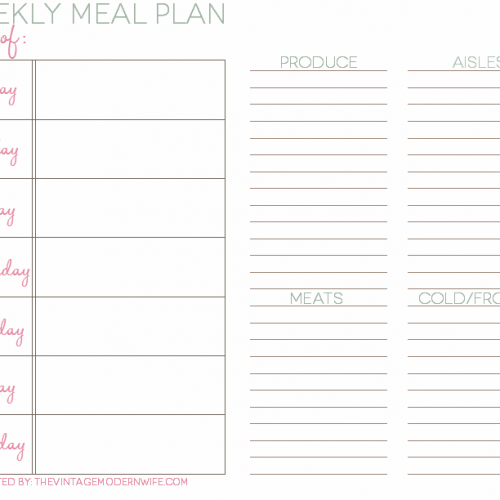 The Vintage Modern Wife has you covered with a weekly meal plan to keep you organized! I'm downloading this right now!