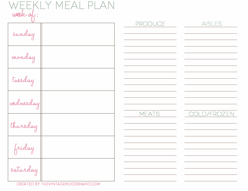 The Vintage Modern Wife Has You Covered With A Weekly Meal Plan Template To  Keep You  Menu Calendar Template