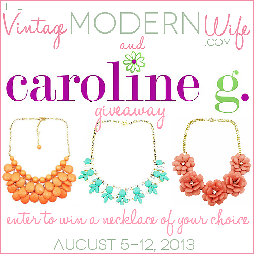 Enter to win this giveaway from The Vintage Modern Wife and CarolineGShop.com to win ANY necklace from their site! Hurry and check it out!