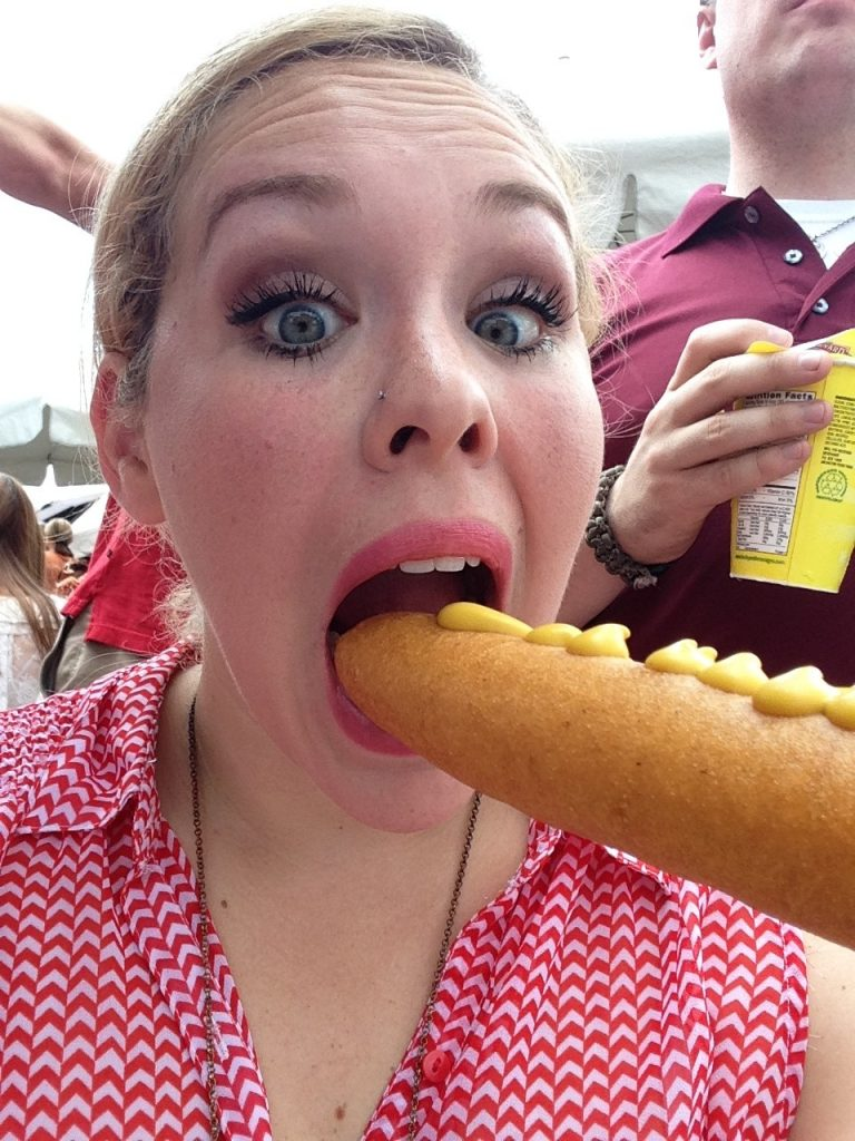 Texas bucket list thing to do: Take a picture with your corny dog at the State Fair of Texas.