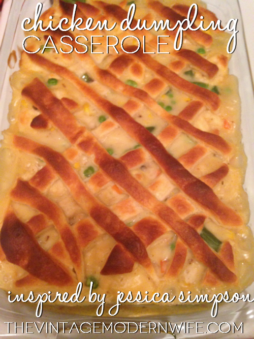 This recipe from thevintagemodernwife.com of Jessica Simpson's Chicken Dumpling Casserole looks amazing! I can't wait to try it.