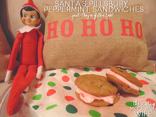 Looking for a non-traditional cookie recipe for Santa? Try these Santa Pillsbury Peppermint Sandwiches! Not only are they delicious, but they're gluten free!