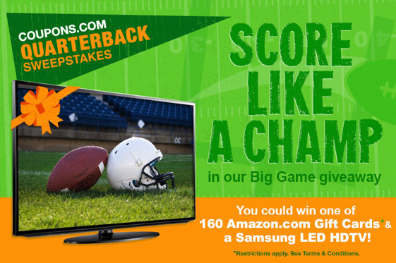 Enter the Coupons.com Quarterback Sweepstakes and you could win one of 160 Amazon.com gift cards and a Samsung LED HDTV!
