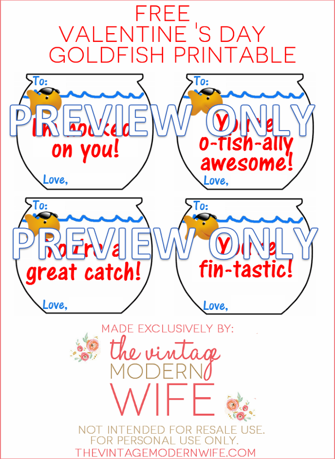 Love this Valentine's Goldfish Printable from TheVintageModernWife.com! Finally a free printable!
