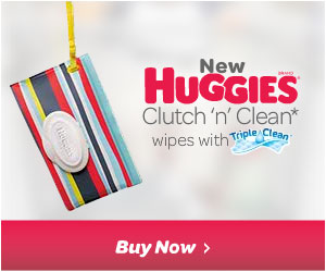 Purchase Huggies Clutch 'n' Clean Wipes. They're the new stylish baby wipes clutch for moms on the go!