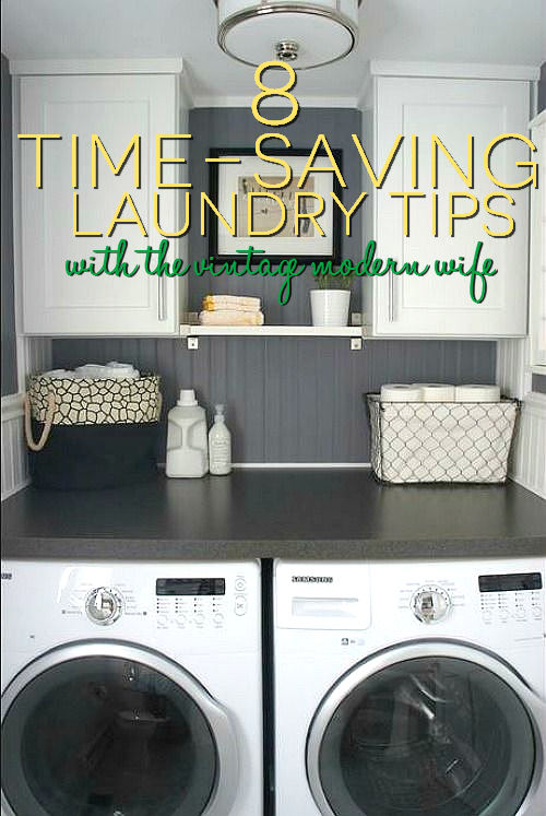 Looking to save time on laundry? The Vintage Modern Wife has 8 great tips on how to get your laundry done faster and greener!  #simplegreenselfie