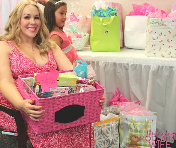 Giving a gift basket is a perfect baby shower gift for a mom-to-be