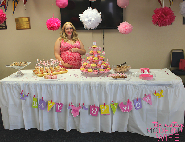 This pink baby shower for The Vintage Modern Wife is too cute! Love this dessert table!
