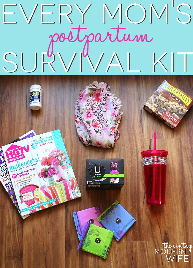 A postpartum survival kit is an essential for every mom. Make one for yourself or gift one to a friend! This blogger has great ideas!