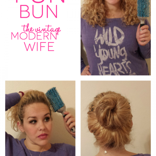 This fun bun takes less than 5 minutes for the mom on the go and all you need is the Goody Quikstyle brush, 2 hair ties, and a few bobby pins! This blogger makes it look easy!