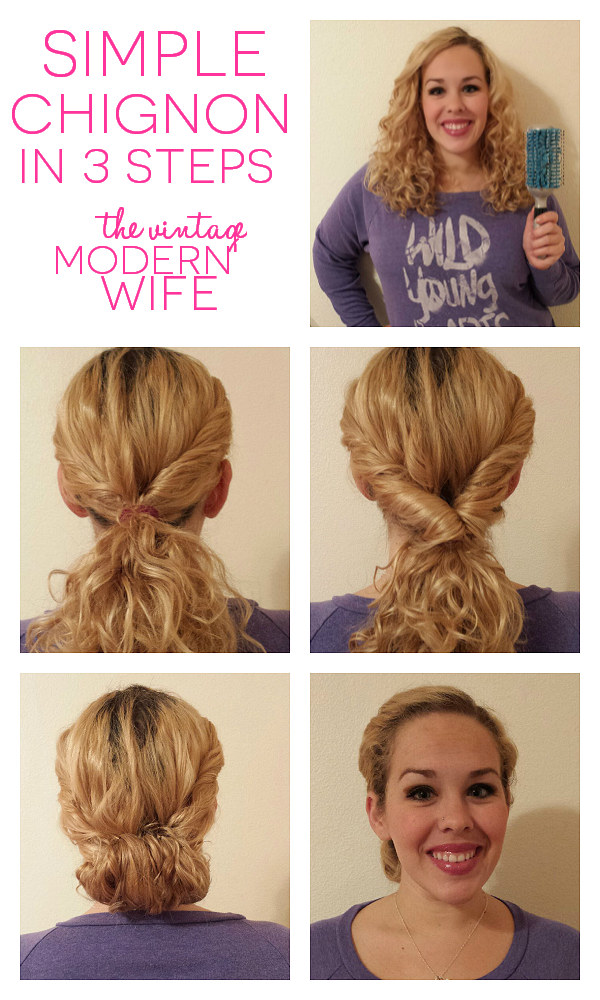 This simple chignon is SO easy with the Goody Quikstyle brush and a few bobby pins! It's a perfect quick 5 minute hairstyle for the mom on the go