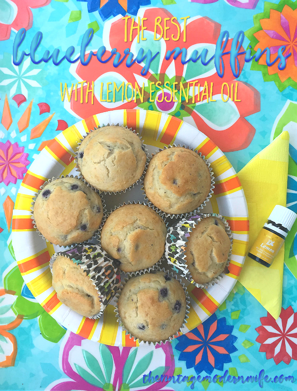Looking for one amazing blueberry muffin recipe? The Best Blueberry Muffins with Lemon Essential Oil by The Vintage Modern Wife will be one recipe you'll want again and again! With sweet blueberries and tangy lemon, these muffins will get you ready to face the day.