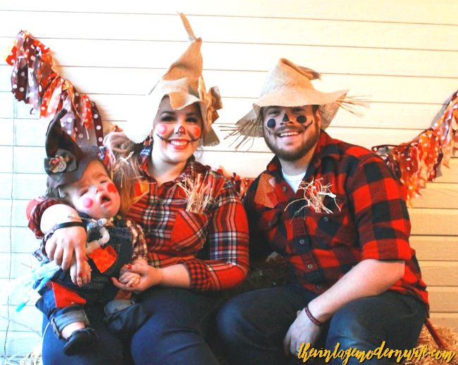 Love how this sweet family came up with scarecrow family Halloween costumes! These are super cute!