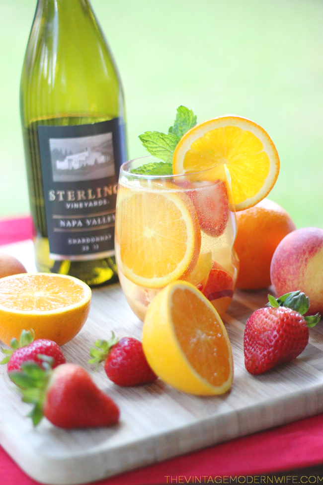 This Sparkling White Wine Summer Sangria combines Sterling Vineyards Napa Valley Chardonnay with all things summer! It's the absolute most perfect drink and will surely be love at first sip!