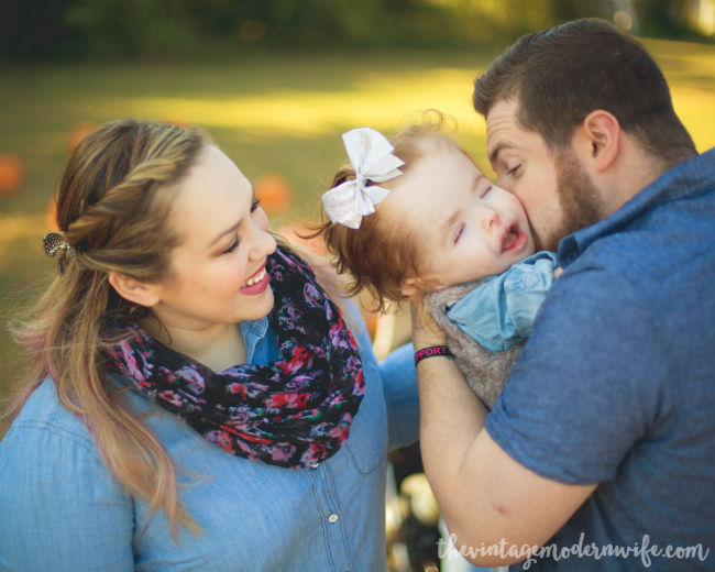 Love this sweet pumpkin patch photo shoot with The Vintage Modern Wife! See more pictures and read about their journey through wellness. It's great!