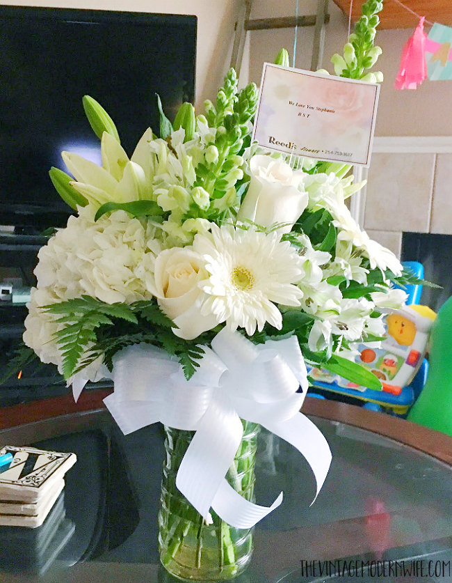 Gorgeous white flowers from friends during a miscarriage