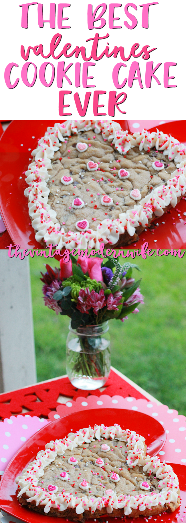Want to surprise the love of your life with a fun dessert for Valentine's? This is the Best Valentine's Cookie Cake Ever and one that will win over the heart of anyone that you are looking for cupid's arrow to hit!