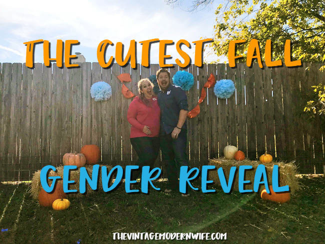 Looking for the cutest fall gender reveal? This pumpkin gender reveal by The Vintage Modern Wife can't be beat! So many cute ideas!
