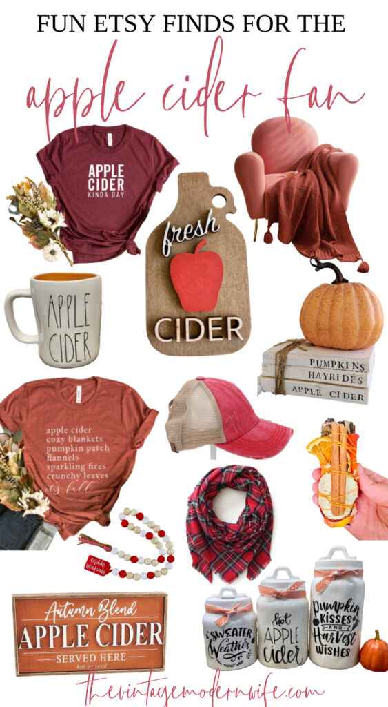 Love apple cider? Don't miss this fun round up of Etsy finds for the apple cider fan! From clothes to home decor, there's something for every apple cider fan this Fall!
